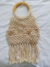 Crochet Tassel Bag & Wooden Handles