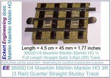 EE 3600D1/4 NEW Märklin Marklin HO 3R 3 Rail 16-Tie 1/4 Straight Track Box 10