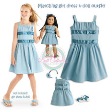 American Girl CL MY AG DUO DOUBLE BOW DRESS SIZE 14 & DOLL OUTFIT Medium NEW