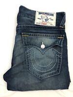 Men's True Religion Straight White Stitch Flap Pocket Rayon Blue Jeans | W33 L33