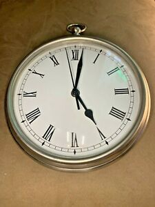 "Large Heavy 9"" Silver Pottery Barn Pocket Watch Wall Clock w/ Roman Numbers"