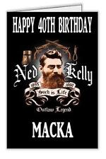 Ned Kelly Print Personalised Birthday Card 18th 21st 40th 50th -  Any name & age