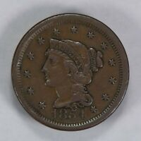 1854 1c BRAIDED HAIR LARGE CENT, XF COIN LOT#T647