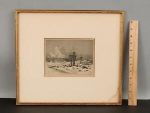 Antique GEORGE ELBERT BURR American Western EVENING ARIZONA Desert Etching Print