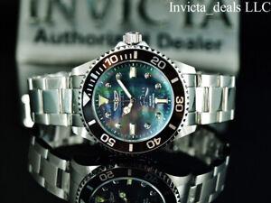 NEW Invicta 38mm PRO DIVER Quartz DIAMOND Black MOP Dial Silver Tone SS Watch