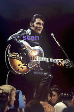 ELVIS PRESLEY IN BLACK LEATHER WITH GUITAR TV SPECIAL 1968 PHOTO CANDID #1