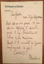 Lettera autografa di Benito Mussolini