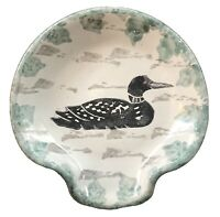 Vintage Studio Vermont Pottery Round Spoon Rest, Coin/Key Holder with Black Duck