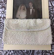 Vtg Bridal Clutch Beaded Wedding Evening Bag Purse Ivory White 1930s 40s 50s 60s