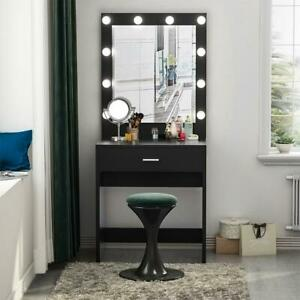 Vanity Set with Lighted Mirror, Deluxe Makeup Dressing Table Dresser Desk