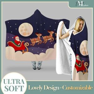 Personalized Christmas santa reindeer Hooded Throw Blanket Fleece Hoodie Cape
