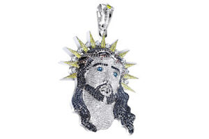 Valentines Day  Jesus  Pendant 14K White Gold Over 925 Sterling