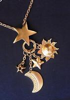 Vintage 1980's Gold Tone Dangle Drop Stars Moon Sun Necklace 28""