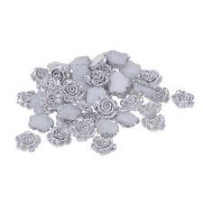 50x Silver Resin Rose Flower Flatback Embellishments For Phone Wedding Decor
