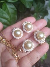 SOUTH SEA PEARL 10MM Earrings Ring & Pendant Set S7.25 in Micron Setting ON SALE