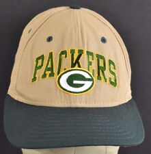 Beige Green Bay Packers Embroidered baseball hat cap adjustable Leather Strap