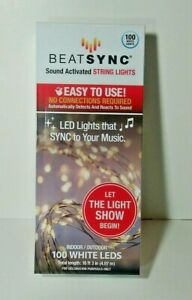 BEATSYNC STRING LIGHTS SOUND ACTIVATED FAIRY BATTERY BEAT SYNC 100 WHITE LIGHT