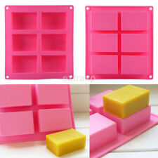 Hot 6-cavity Plain Basic Rectangle Soap Mold Silicone Mould for Homemade Craft