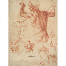 Salvador Dali 1982 Poster CanvasA0-A4 Figurine inspired by Michelangelo/'s Adam.