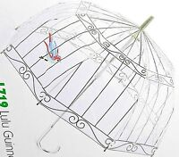"LULU GUINNESS ""BIRDCAGE"" DESIGN BUBBLE DOME MANUAL STICK UMBRELLA BY FULTON -NWT"
