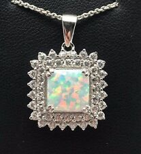Sterling Silver Cushion White Opal Double CZ Halo Cluster Burst Necklace 18""