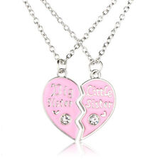 Heart Shape Necklace Sisters Pendant Friends Lover Chain Collar Crystal Gift Set