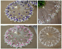 B175 1 Yard Floral Tulle Lace Trim Ribbon Fabric Flower Embroidery Trim Sewing