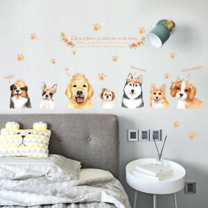 Lovely Dogs Puppies Beautiful Flowers Wreath Removable Wall Decal Home Decor Art