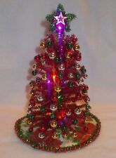 "NEW 8"" LIGHTED RED TINSEL DOLLHOUSE MINIATURES CHRISTMAS TREE MID-CENTURY MODERN"