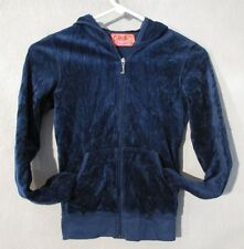 W5215 Juicy Couture Child/Kids Girl Petite Blue Zip Up Hoodie With Pockets