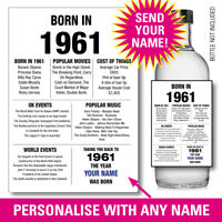 1961 60th PERSONALISED GIN VODKA WINE bottle label birthday Year born Facts 156