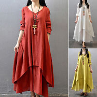 Women Ethnic Boho Linen Style Long Sleeve Gypsy Blouse Loose Shirt Maxi Dress