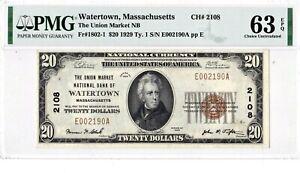 $20 1929 T1 National WATERTOWN Massachusetts MA ((PMG 63 EPQ Uncirculated UNC))