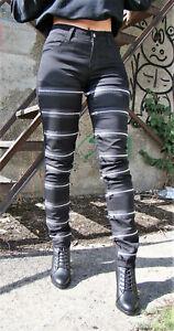 Hose, Metall Heavy, Rock, Gothic, Goth, EMO, Zip, Skinny, Jeans, Slim, Gr. 29/32