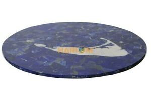 """24"""" Marble Table Top Stand Not Included Lapis Mother Of Pearl Inlay E587(1)"""