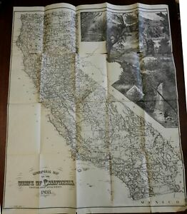 California State 1893 Barnard rare large pictorial map agricultural vignettes