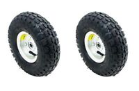 """NEW 2 TIRE SET 10"""" STEEL AIR PNEUMATIC HAND TRUCK DOLLY WAGON INDUSTRIAL WHEEL"""