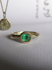 Set 14K yellow gold necklace & ring with Emeralds, unique handmade