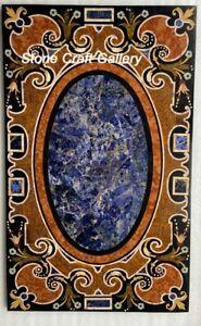 "36"" x 22"" marble Table Top semi precious stones inlay handmade art"