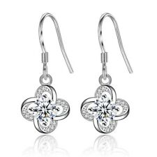 Womens Exquisite Round Earrings 925 Sterling Silver Plated Hook Drop Dangle Gift