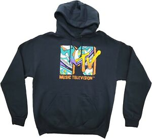 MTV Music Television Black 80s 90s Retro Vintage TV Show Sweater Hoodie Size L