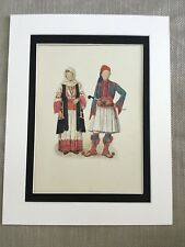 Antique Costume Print Greek Traditional Dress  Historical Fashion Grecian