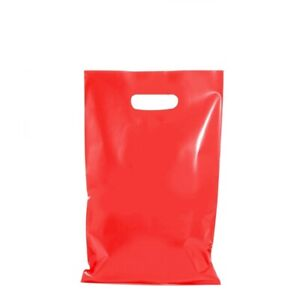 100 x RED PLASTIC GIFT CARRY BAGS DIE CUT HANDLE SMALL MEDIUM 250 x 380mm