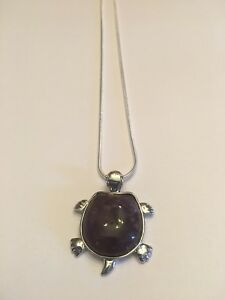 Tortoise Natural Amethyst 18K WT Gold Filled Pendant/NECKLACE AND CHAIN-N7019
