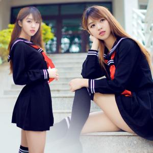 New Japanese women High School Girl Sailor Uniform suit Dress Cosplay Costume
