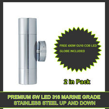 PREMIUM 10W 316Marine Grade Stainless Steel 2 Light Up & Down Wall Outdoor Light