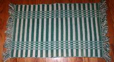 "VTG Hand Made Loom Cotton Rag Rug 35x18"" Ribbed THICK Green Striped EUC"