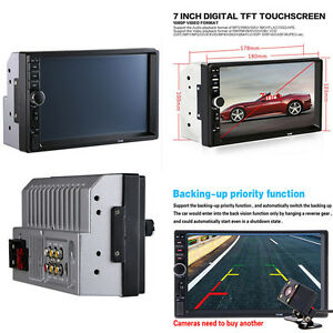 """2DIN Car MP5 USB Player Bluetooth 7"""" Touch Screen multimedia Stereo Radio Camera"""