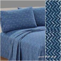 New Mainstays Blue Herringbone Wicker Print Bed Sheet Set 100% Cotton