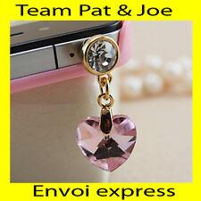 BIJOU CACHE POUSSIERE telephone portable pour PRISE JACK style Diamant  Rose